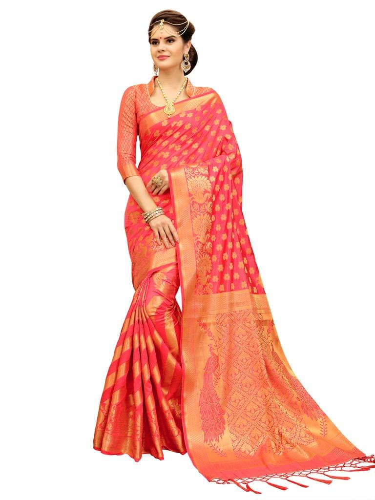 Peach Banarasi Style Saree EKMT-04