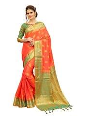 Orange And Green Color  Banarasi Style Saree EKMT-06