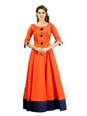Orange And Blue Jacquard Anarkali Gown EKKG-017
