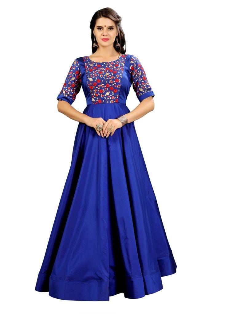 Royal Blue Color Embroidered Anarkali Gown EKKG-019