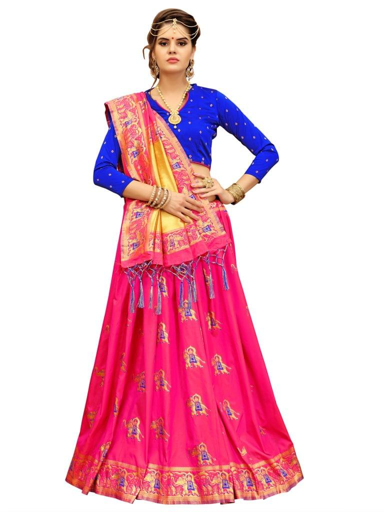 Pink And Royal Blue Color Banarasi Patola Style Saree EKMT-01