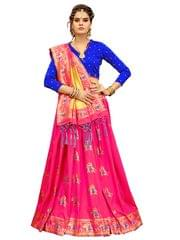 Pink And Royal Blue Color Banarasi Patola Style Saree EKMT-01