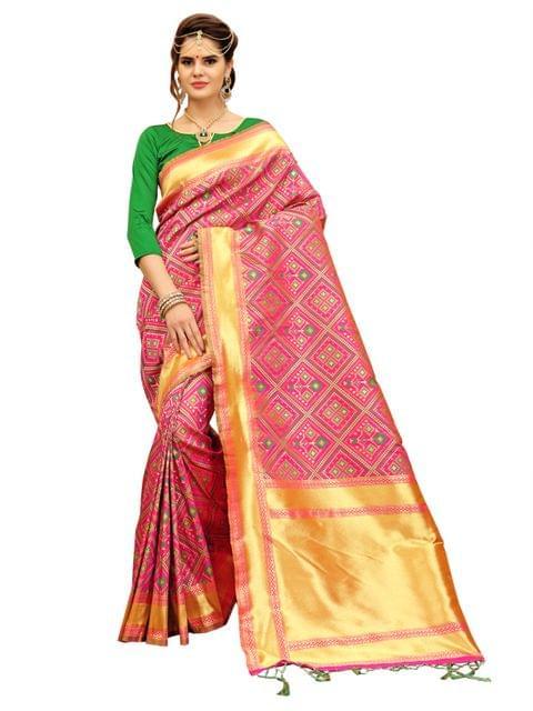 Pink And Green Banarasi Patola Style Saree EKMT-03