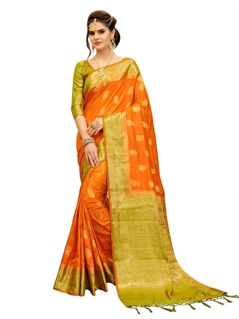 Musterd And Lime Green Banarasi Style Saree EKMT-05