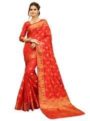 Red Banarasi Style Saree EKMT-08