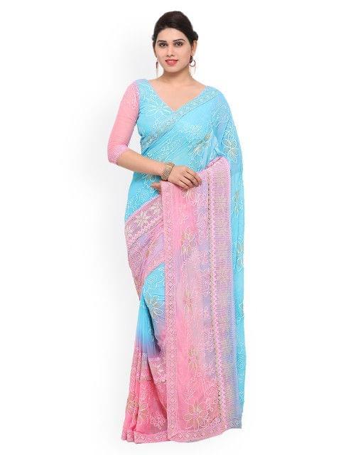 Sky Blue Embroidered Chiffon Saree  EKKMS9005