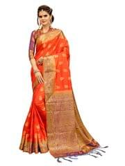 Orange And Purple Banarasi Style Saree EKMT-07
