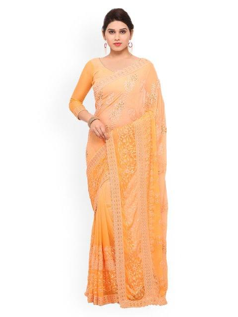 Orange Embroidered Chiffon Saree  EKKMS9007
