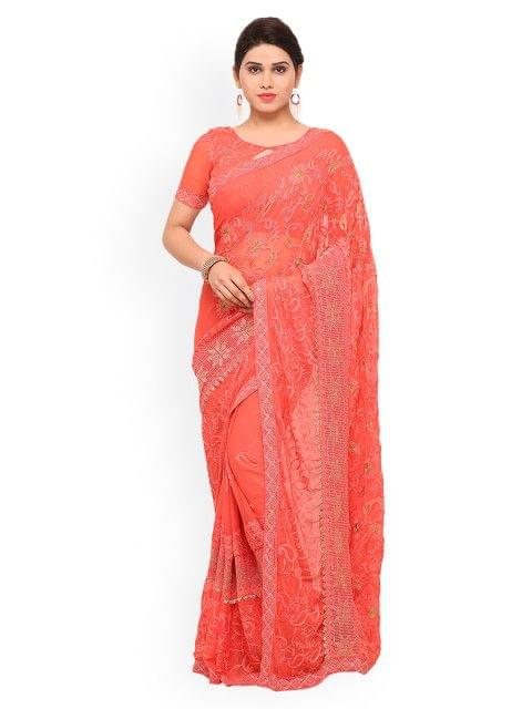 Peach Embroidered Chiffon Saree  EKKMS9004