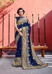 Blue Color Designer Heavy Work Saree 28476
