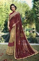 Brown & Cream Color Designer Heavy Work Saree 28482