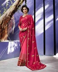 Pink Color Designer Heavy Work Saree 28483