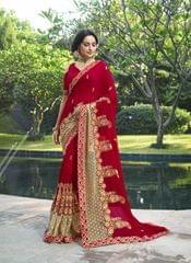 Red Color Designer Heavy Work Saree 28486