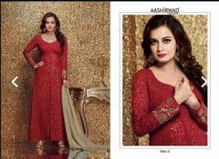designer partywear suit -red color