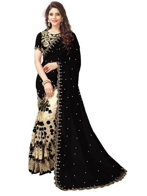 Georgette & Net Black Color Saree