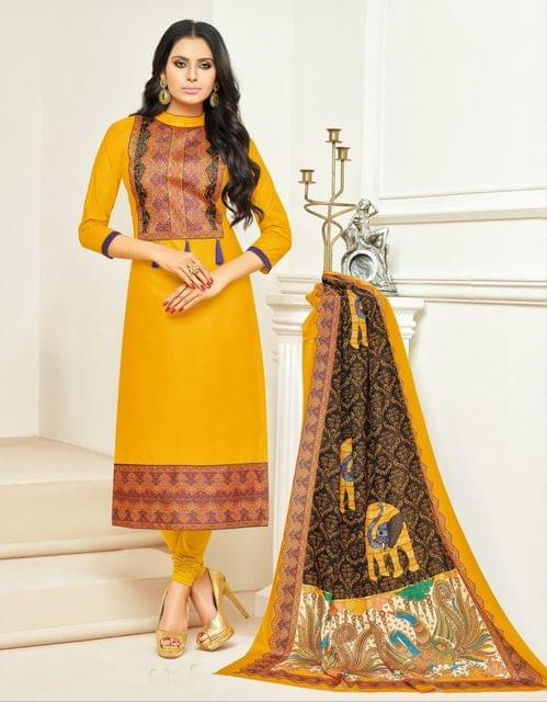 Yellow  Color Cotton Unstitched Dress Material 28613