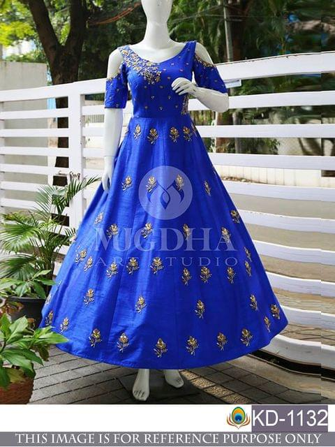 Silk Blue Embroidered Semi Stitched Gown - KD1132