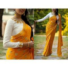 Yellow Color Bemberg Georgette With Embroidery Saree