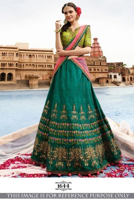 Green Color Benglori Silk Silk Lehenga Choli 1644