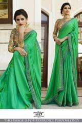 Green Color Paper Silk Saree  1637