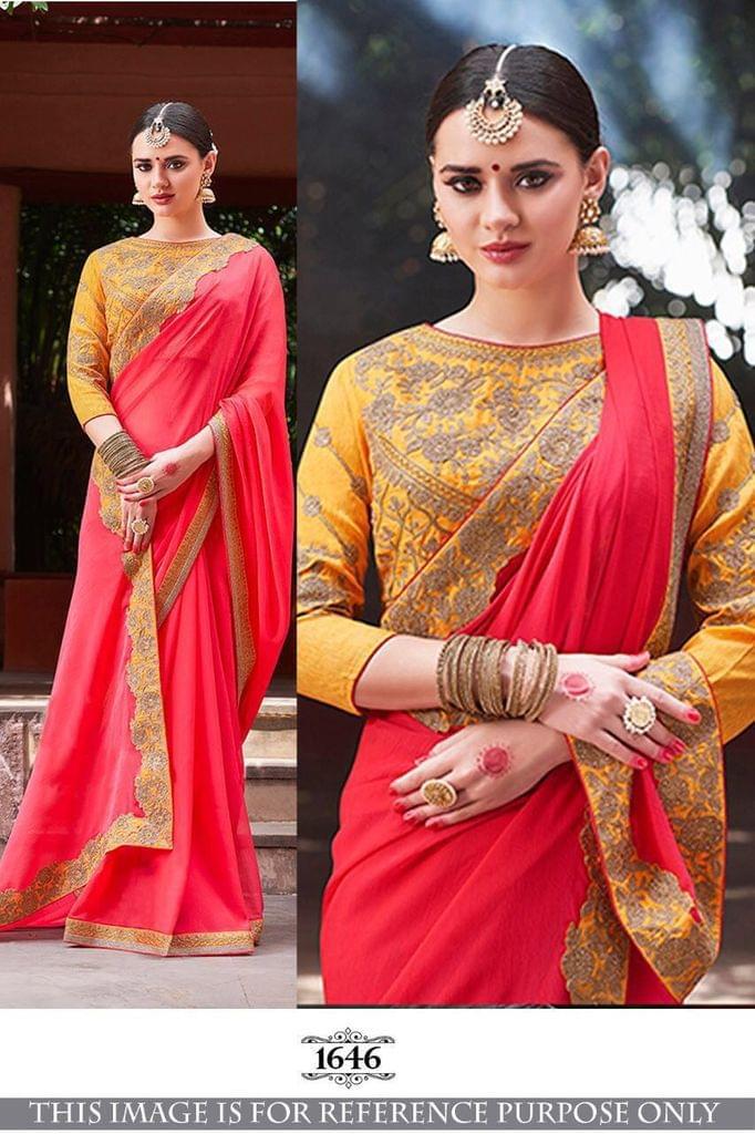 Pink Color Chiffon Silk  Georgette Saree 1646