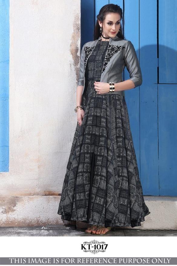 Black Color Banglory Silk With Thread Kurti KT-1017