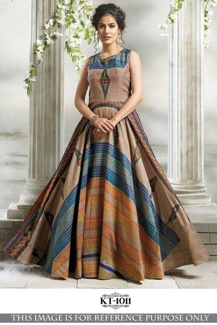 Multi  Color Banglory Silk  With Thread Work Gown KT-1011