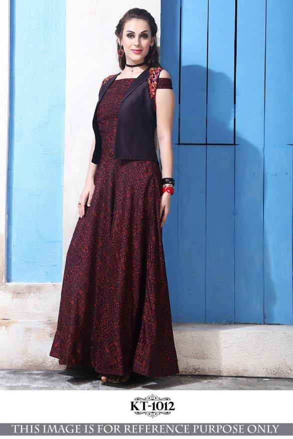 Dark Maroon Color  Gown KT-1012