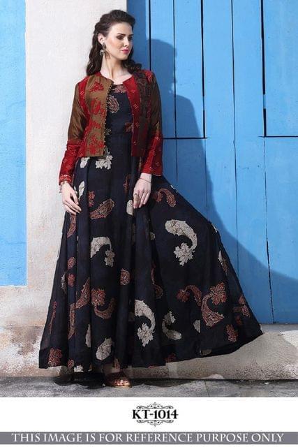 Black Color Banarasi Silk With Digital Print Gown KT-1014