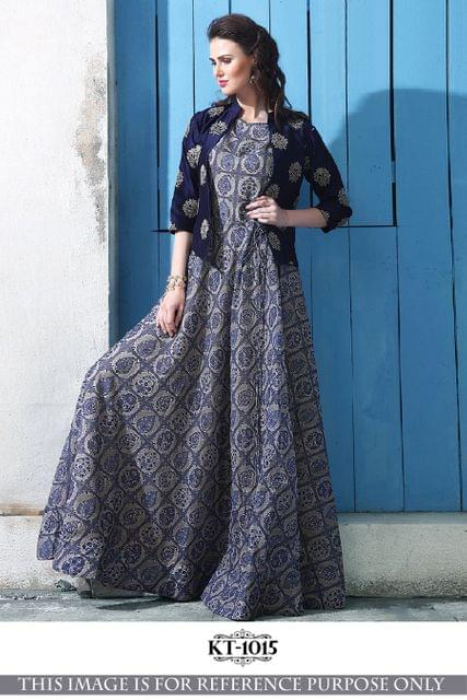 Multi Color Banglory Silk  With Thread Work Gown KT-1015