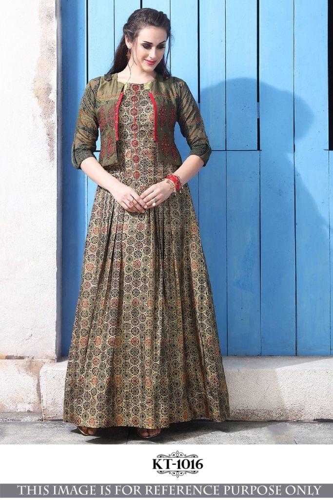 Multi Color Banarasi Silk With Digital Print KT-1016