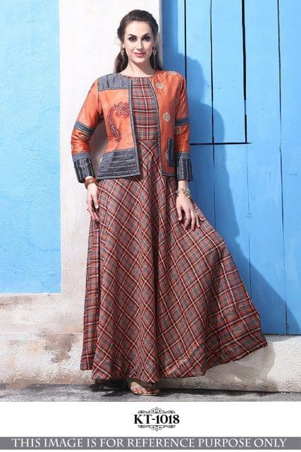 Brown Color Banarasi Silk With Digital Print KT-1018