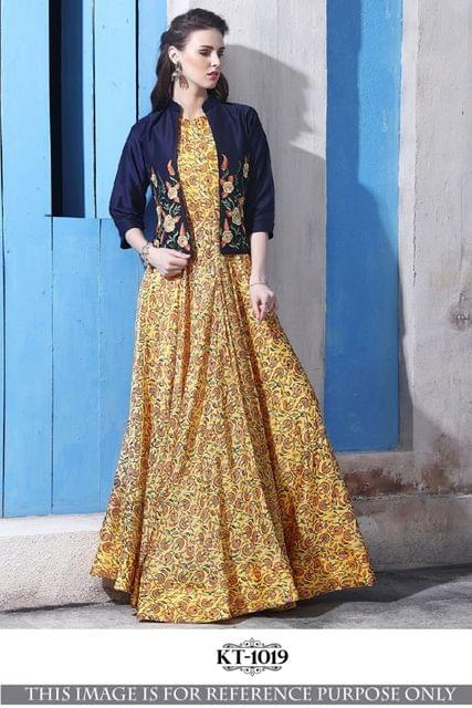 Yellow Color Banglory Silk  With Thread Work Gown KT-1019