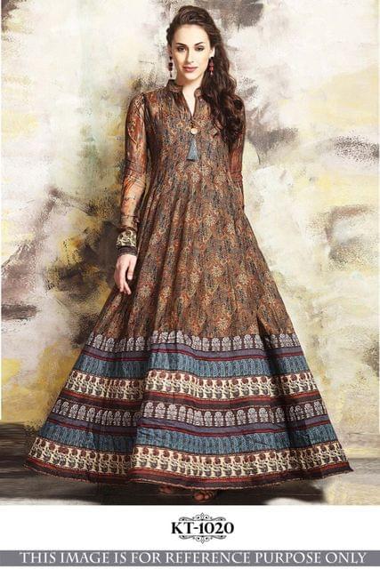 Brown Color Banglory Silk  With Thread Work Anarkali Salwar Suit KT-1020