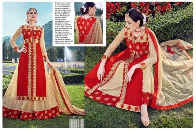 Red Color Jacquard Net Anarkali Salwar Suit   KT-1021