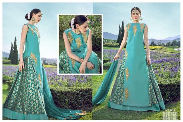 Sky Blue Color  Heavy Silk Taffeta Anarkali Salwar Suit KT-1023