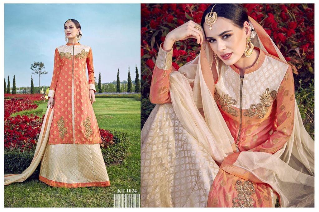 PeachColor Banarasi Silk Jacquard Anarkali Salwar Suit KT-1024