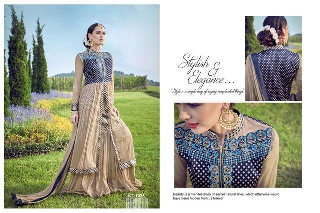 Brown Color Banarasi Silk Jacquard & Nylon  Anarkali Salwar Suit KT-1025