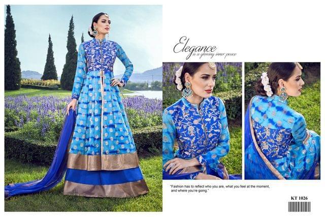 Blue Color Banarasi Silk Jacquard Anarkali Salwar Suit KT-1026