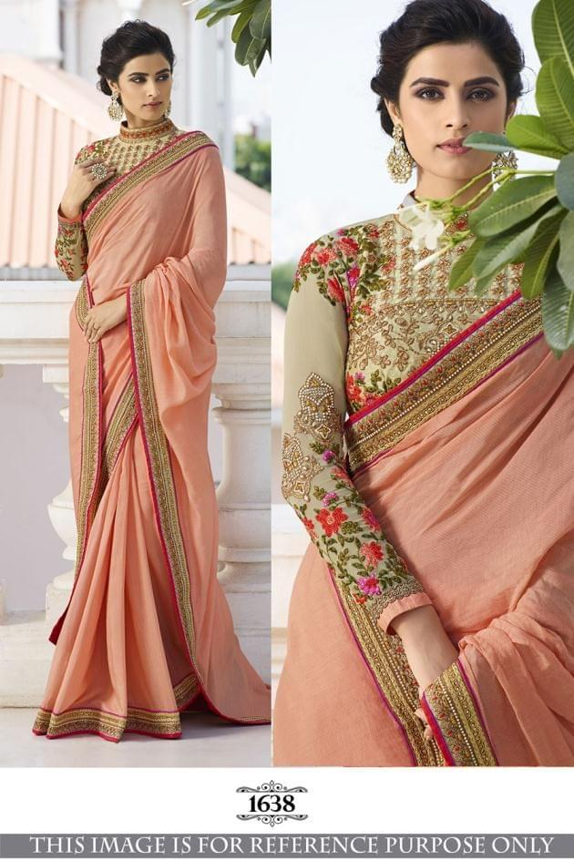 Peach Color Foot Silk Saree 1638