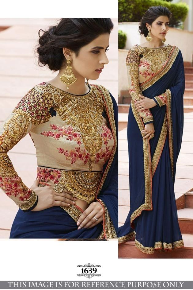 Navy Blue Color 60Gm Georgette Silk Saree 1639