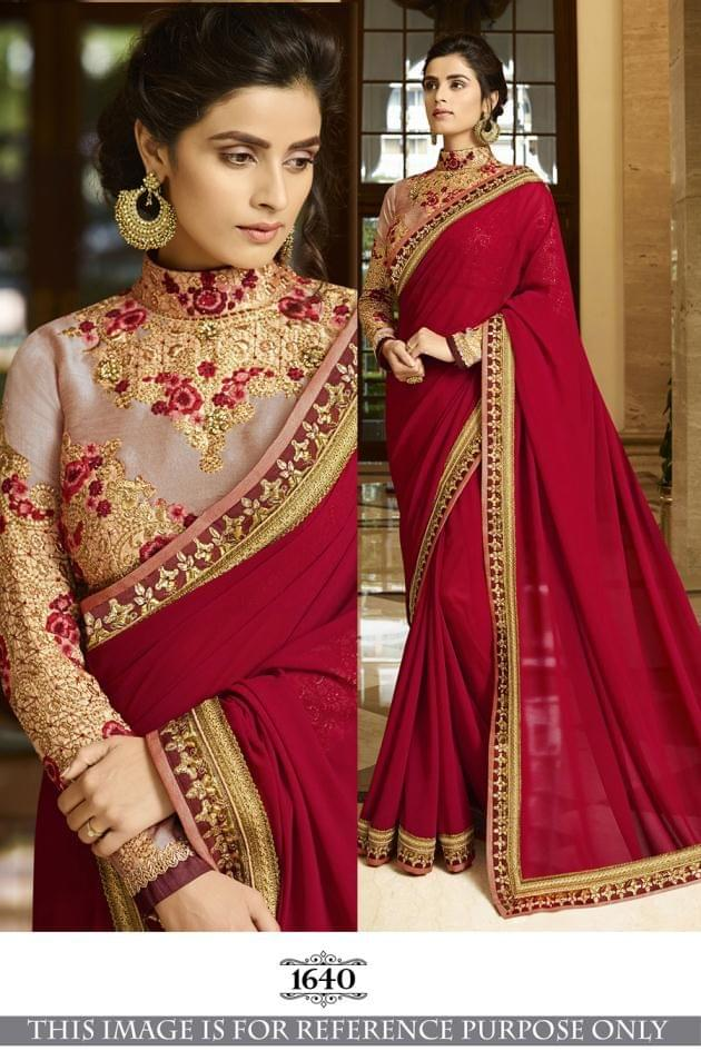 Maroon Color  60Gm Georgette Silk Saree  1640