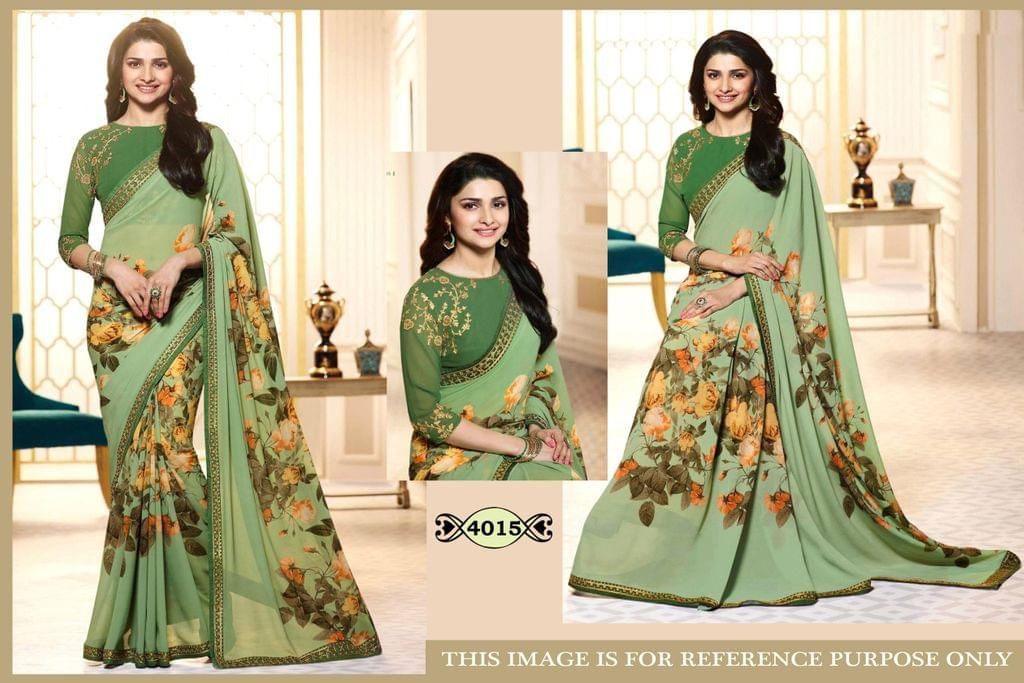 Green  Color Print GeorgetteSaree 4015