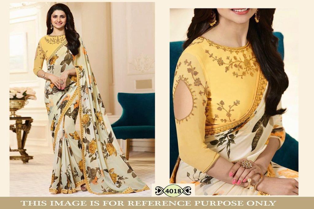 Yellow Color Print Georgette Saree 4018