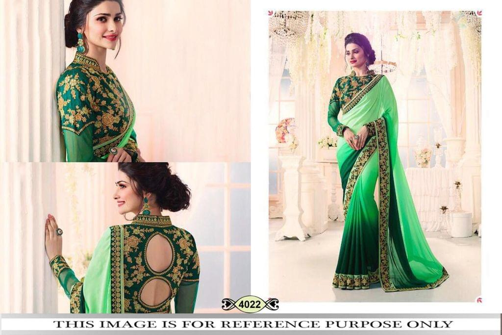 Green  Color Padding Georgette Saree 4022