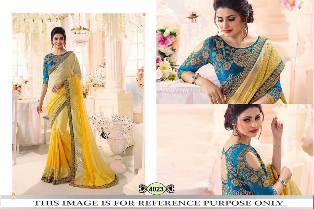 Yellow Color Padding Georgette Saree 4023