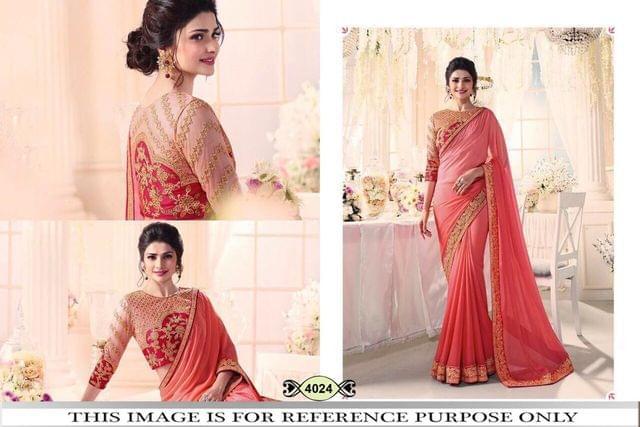 Peach Color Chinon Silk Saree 4024