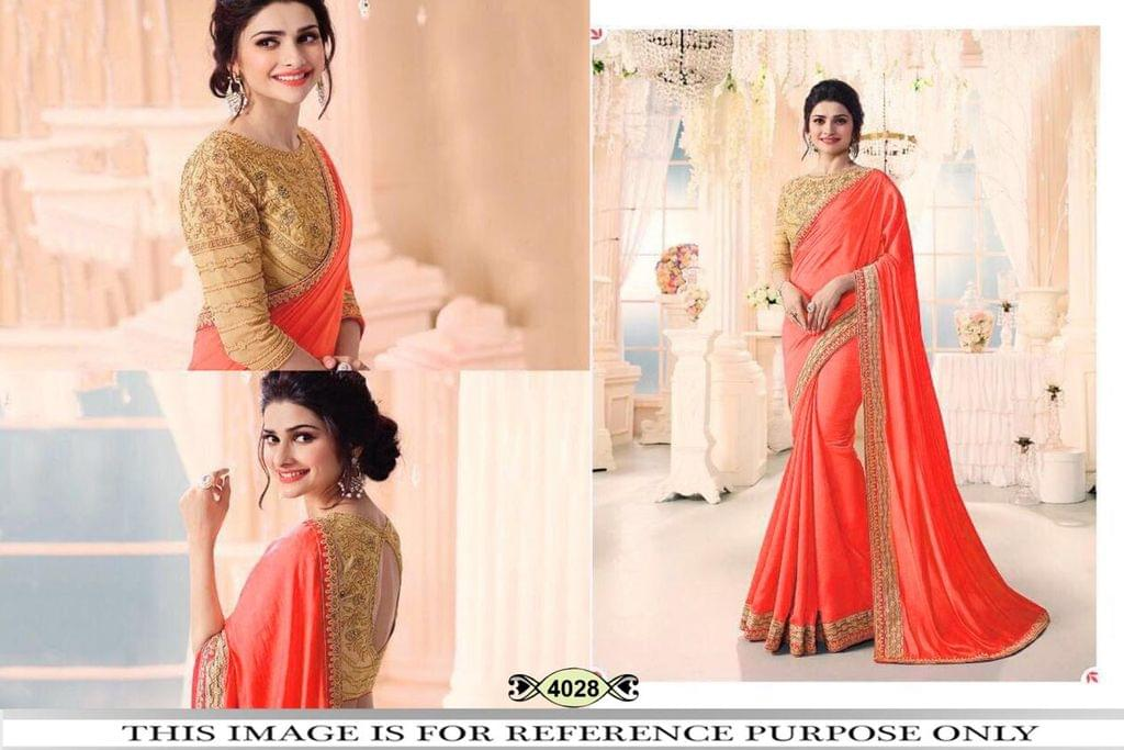 Orange Color Chinon Silk Saree 4028
