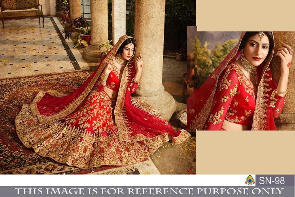 Red Color Nylon  Mono Net Lehenga Choli SN-98