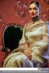 Cream Color Chanderi Silk Saree SN-570
